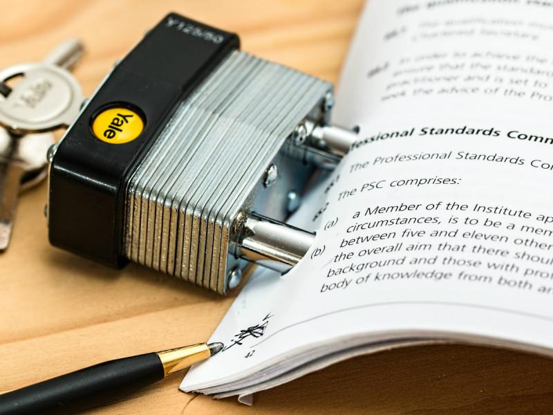 padlock around documents